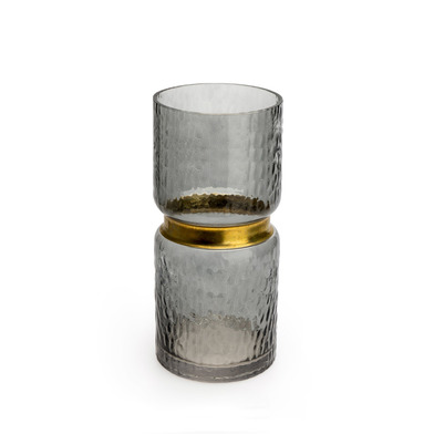 Vase Tendence glass and brass, color Brown