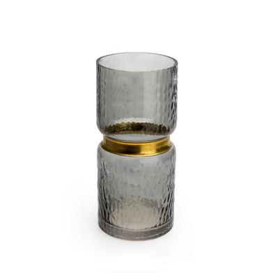 Jarrón Tendence vidrio y latón, color marrón
