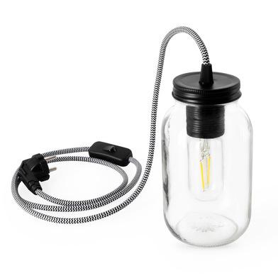 Lámpara de mesa Vintage, cristal, color transparente y blanco y negro, estilo vintage18x10x10 cm