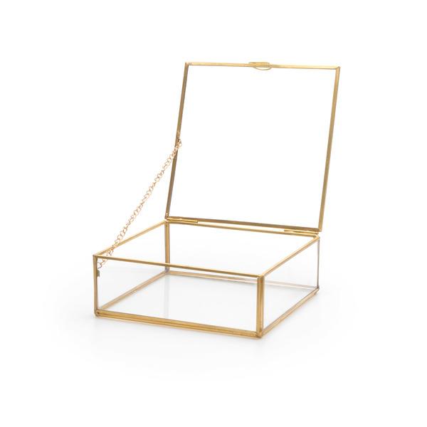 lack Velvet Studio Caja deco Retro Color transparente y dorado envejecido Caja decorativa con aire r