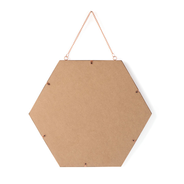 Espejo pared Mirror, metal, color cobre, Forma hexagonal