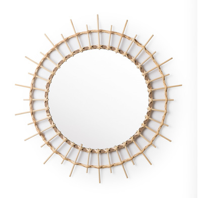 intage Round Decorative Wall Mirror - Bambu Natural BOHO CHIC - Hallway Bathroom Entrance - Nordic E