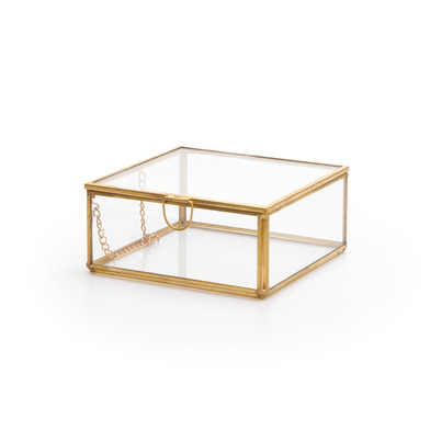 errarium Retro Deco Jewelery Box Metal Gold Brass Color Transparent Glass - Nordic Style Vintage Jew