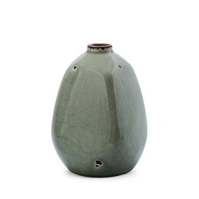 Jarrón Atenas, cerámica, color gris, florero,10x10x15 cm