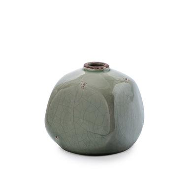 Jarrón Atenas, cerámica, color gris, florero,10x10x10 cm