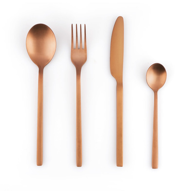 overed Game 4 Stainless Steel Copper Color Mate - Pack in September Cutlery Fork Knife Spoon - Style