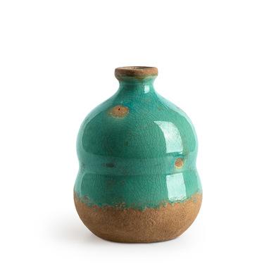 Jarrón Botijo, cerámica, color verde, turquesa, florero14x10x10 cm