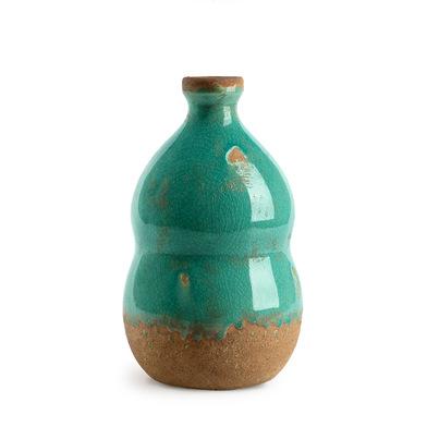Jarrón Botijo, cerámica, color verde turquesa, turquesa, florero,22x13x13 cm