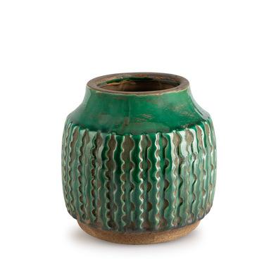 Jarrón Alpes, cerámica, color verde, grabado étnico,14x14 cm