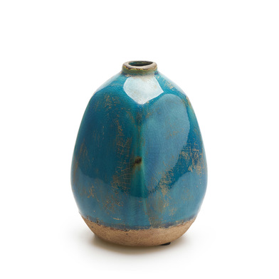 Jarrón Atenas, cerámica, color azul, turquesa, florero15x10x10 cm