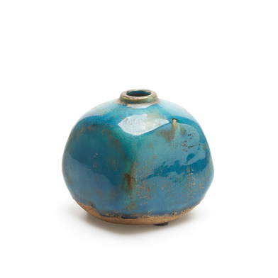 Jarrón Atenas, cerámica, color azul, turquesa, florero10X10X10 cm