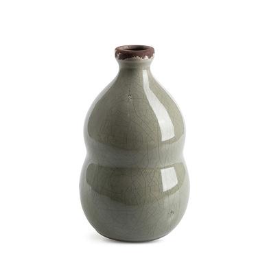 Jarrón Botijo, cerámica, color gris, florero, 22x13x13 cm