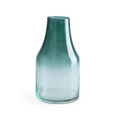 Jarrón Cancun, cristal, color verde y transparente, degradé, florero, 26x14x14 cm
