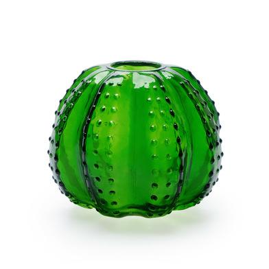 Jarrón Atacama, cristal, color verde, forma de cactus, 14x15x15 cm