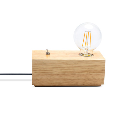 Table lamp Mr Wood, wood, color natural, 8x20x10 cm