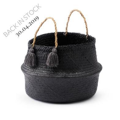 Cesto Belly paja, color negro y gris
