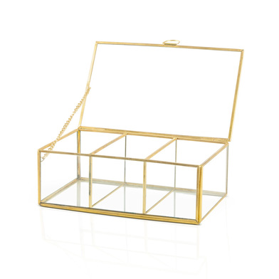 Deco box Retro 3, glass and brass, color transprarente and gold, 20x12x7 cm