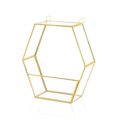 all shelf Metal Vintage Gold Hexagonal - Floating Shelf Decoration Design Retro Hall Living room wal