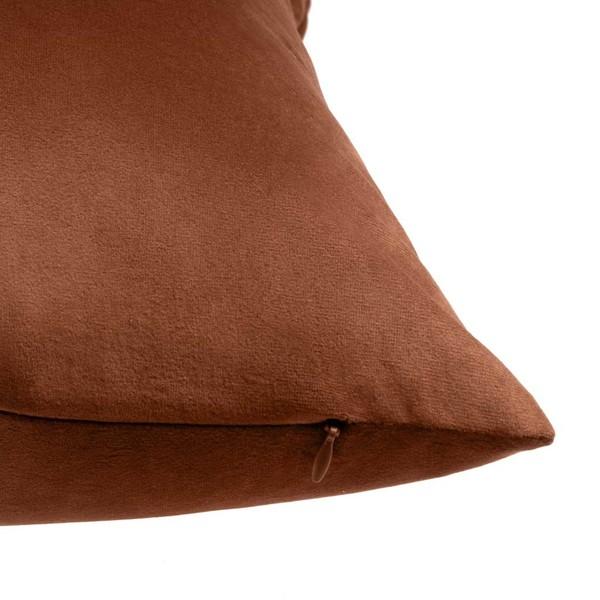 Funda cojín Velvet, 100% poliéster, color marrón, terciopelo, 45x45 cm