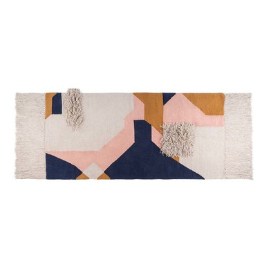 Rug Cubismo, 100% wool, color beige and blue and pink and brown, Hand-woven,1x75x150 cm
