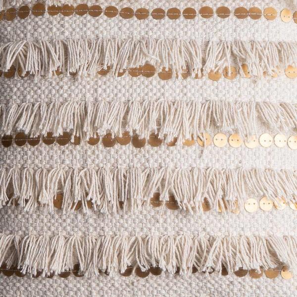 Funda cojín Rabat, 100% algodón, color beige y dorado, tejida a mano, étnica, 45x45 cm