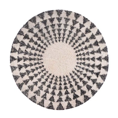 Rug Niamey, 100% cotton, color White grey, hand-woven round,1x90x90 cm