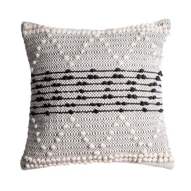 Cushion Cover Cairo, 100% cotton, color black White, Hand-woven, ethnic,45x45 cm