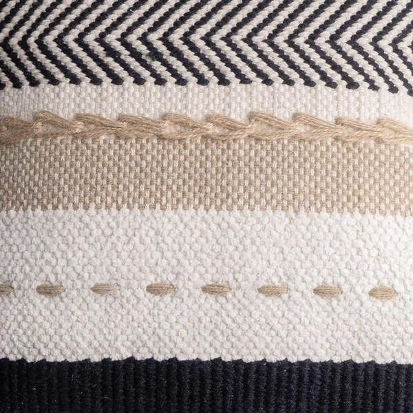 unda cojín Dakar, 80% algodón y 20% yute, color blanco y negro y beige, tejida a mano, étnica,45x45