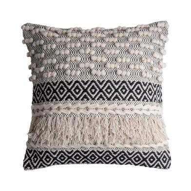 Cushion Cover Nairobi, , color black White, Hand-woven, ethnic,45x45 cm