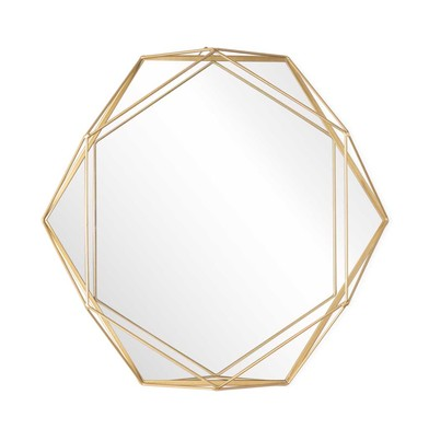 Mirror 3D, metal, color Golden, with three-dimensional volume, a hexagon,39x47x7 cm