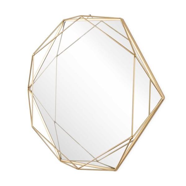 Espejo 3D, metal, color dorado, con volumen tridimensional, forma de hexágono, 39x47x7 cm