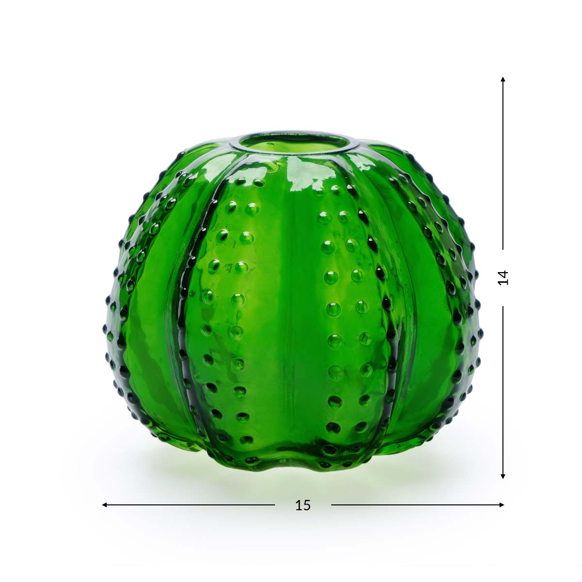 Vase Atacama, crystal, color green, shaped cactus, 14x15x15 cm