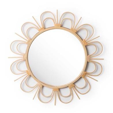 Espejo Flor, ratán, color natural, Forma de flor redonda