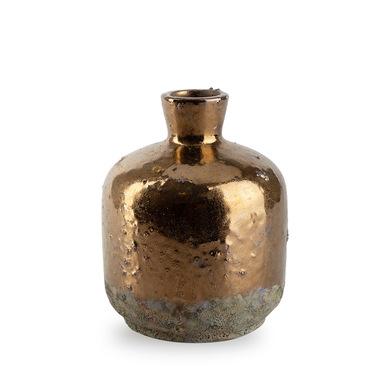 Jarrón Dark, cerámica, color dorado y marrón, vintage,10x2 cm