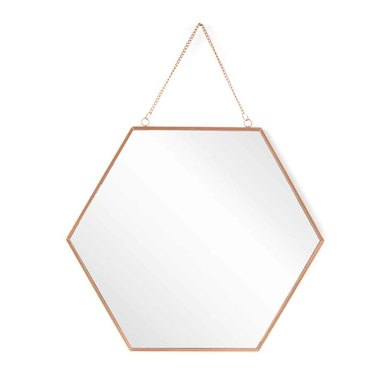spejo Pared Decorativo Hexagonal Vintage - Metal Color Cobre - Pasillo Baño Entrada - Étnico Nórdico
