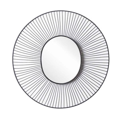 ound decorative Mirror, natural rattan, boho chic, nordic style, for hallway or bathroom, metal, bla
