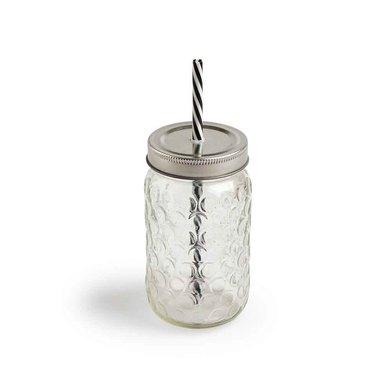 Set 4 jarras Mug vidrio y metal, color transparente