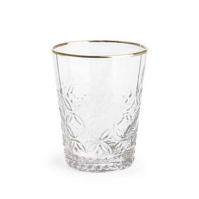 Set 4 vasos Old is chic vidrio, color transparente y dorado