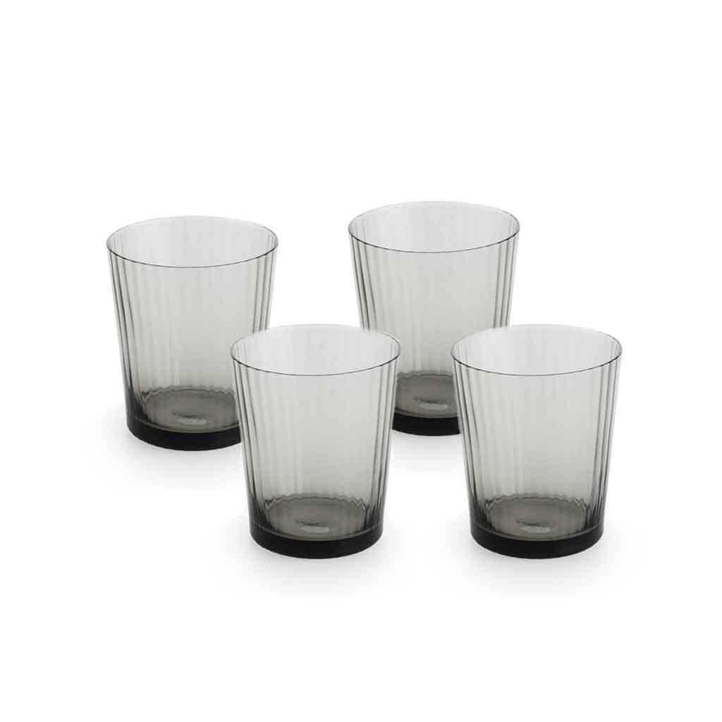 Set 4 vasos Nuit vidrio, color gris