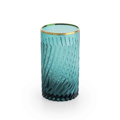 Set 4 tall tumblers Estambul glass, color turquoise and gold