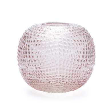 ecorative Glass Vase Pink Spherical - Modern Vintage Vase for Home Office Board Room with organic te