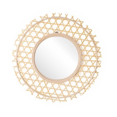 ound decorative Mirror, natural rattan, boho chic, nordic style, for hallway or bathroom, rattan, na