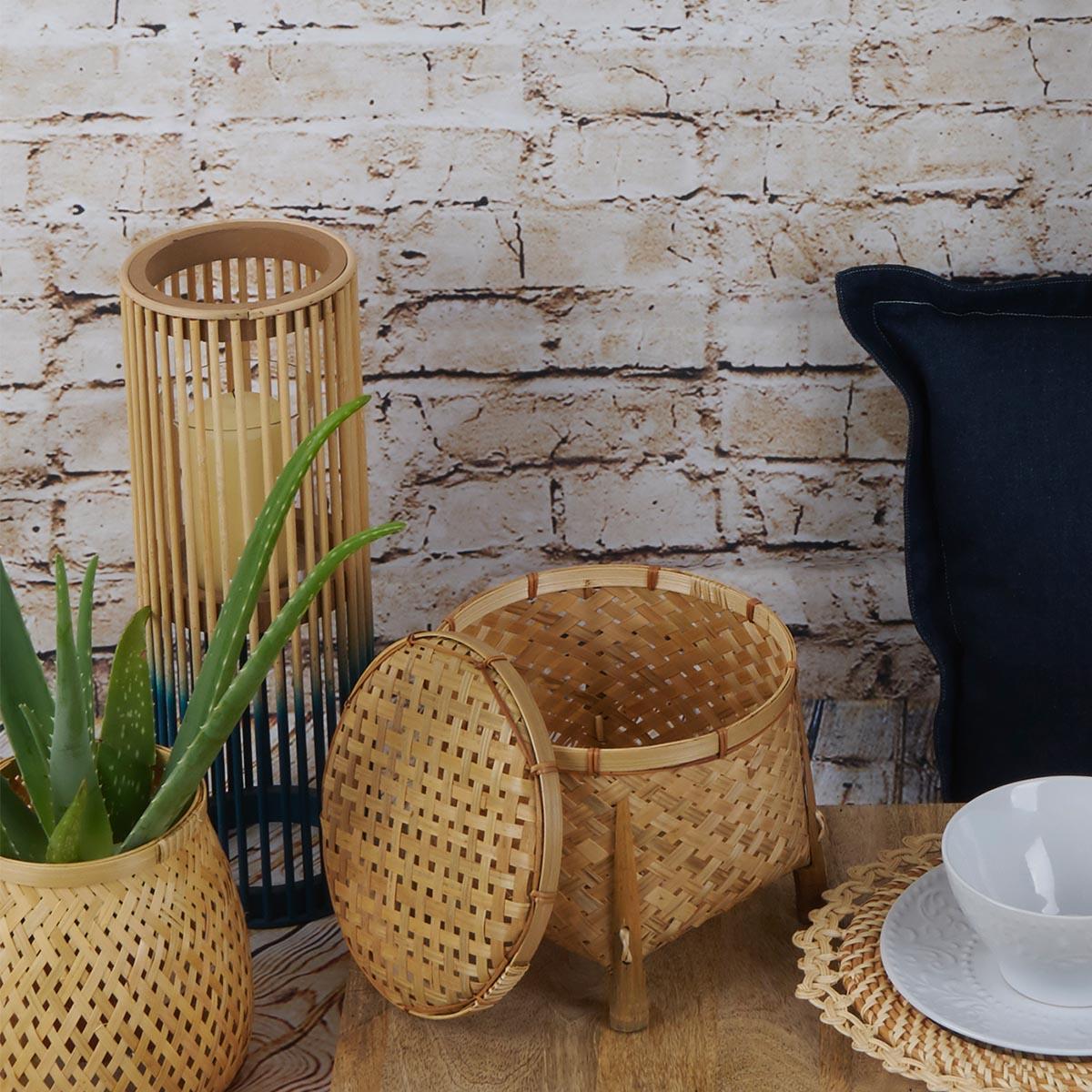 Farolillo Krabi bambú, color naturaly azul oscuro