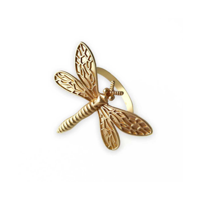 Set 2 servilleteros Dragon-fly, Zinc, color dorado, boho chic, 4,3x4,5x5,5 cm