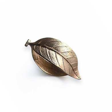 Set 2 servilleteros Leaf, Zinc, color dorado, boho chic, estilo nórdico, 6,8x4,4x4,4 cm