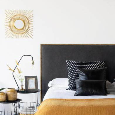 abecero Cama Madera Tapizado Tela Acolchado Gris Oscuro - Cabezal Dormitorio Matrimonio / Individual