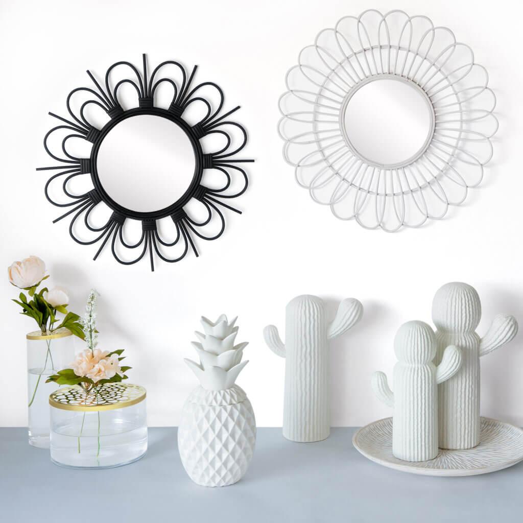 spejo de pared decorativo redondo Flor, ratán natural, estilo étnico & boho chic, nórdico, bonito y