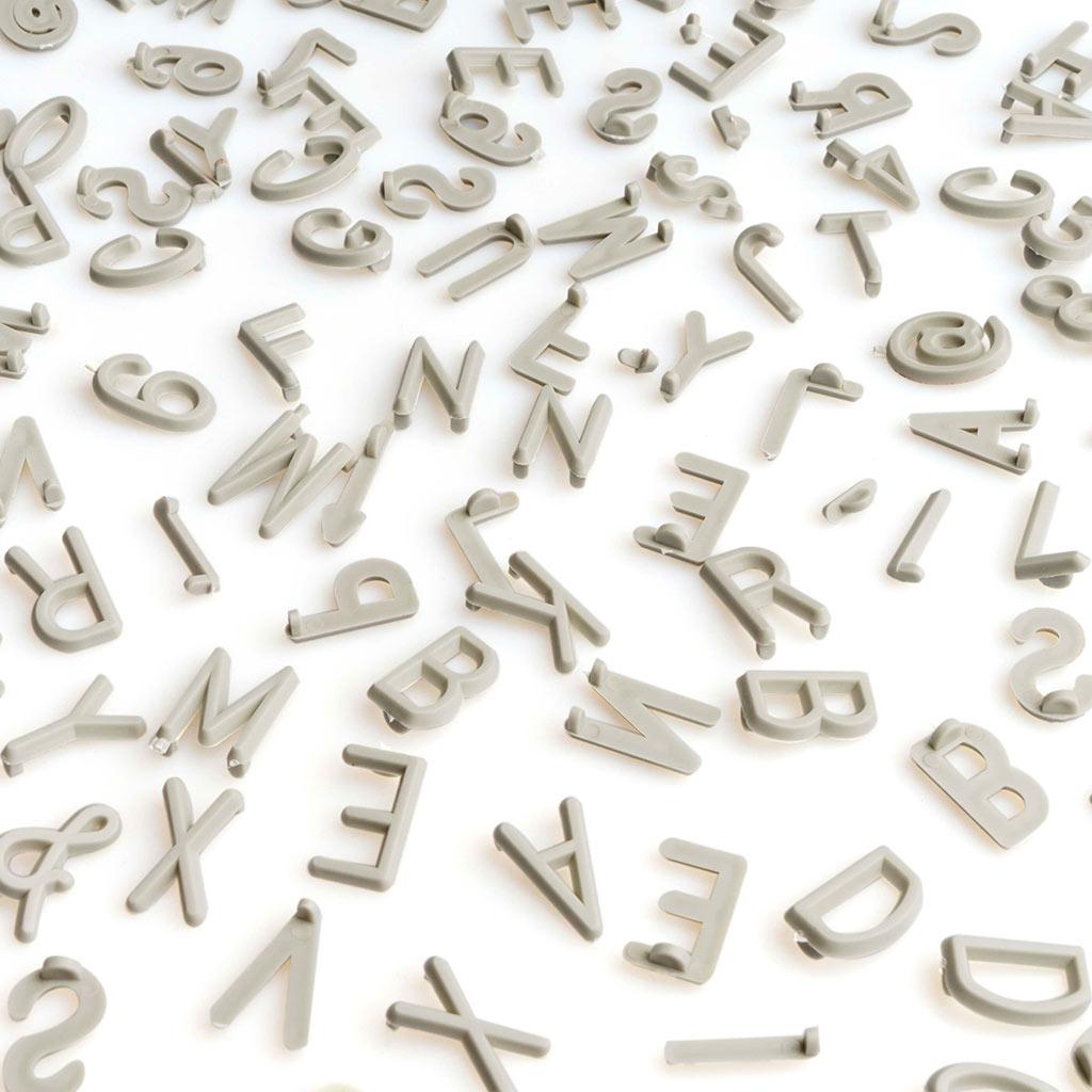 PACK Letras Tablero Fieltro Intercambiables Letters + Numeros - Alfabeto Simbolos Retro Color Gris