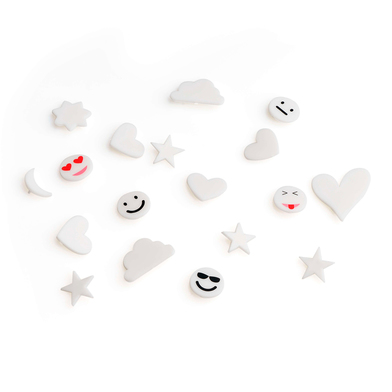 PACK SimbolosTablero Felting Exchangeable Emojis - Alphabet Retro Plastic Color White
