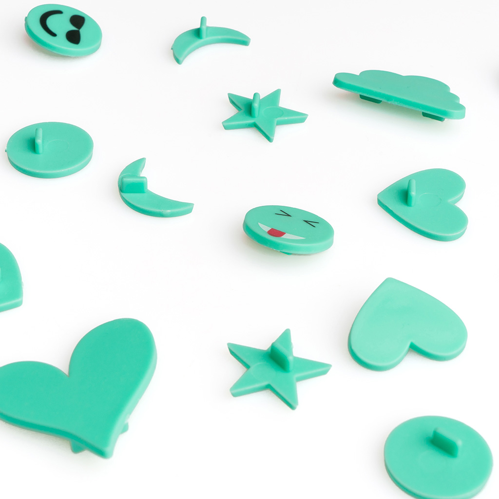PACK SimbolosTablero Fieltro Intercambiables Emojis - Alfabeto Plastico Retro Color Turquesa